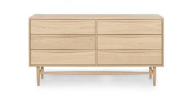 Lenia White Oak 6 Drawer Double Dresser - Article