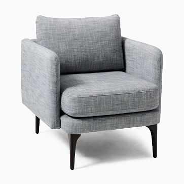 Auburn Chair, Poly, Yarn Dyed Linen Weave, Graphie, Dark Mineral - West Elm