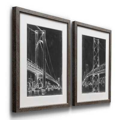 'Suspension Bridge Blueprint I' - 2 Piece Picture Frame Painting Print Set on Paper - Wayfair