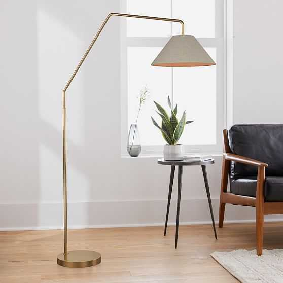 """Sculptural Overarching Floor Lamp, Fabric Cone 18"""", Natural, Antique Brass - West Elm"""