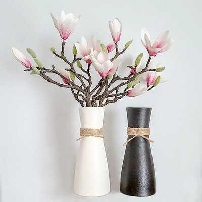 Vase Flower Vase Vases For Decor Vases For Flowers Farmhouse Vase Rustic Vase Ceramic Vase Vintage Vase Living Room Decor Black Vase White Vase Set Of 2 - Wayfair