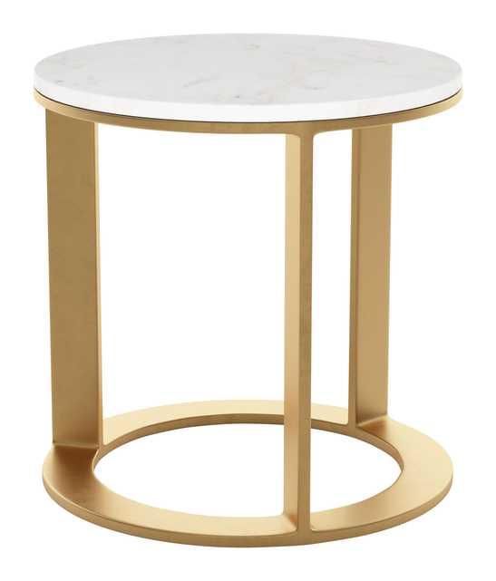 Helena Side Table, White & Gold - Zuri Studios
