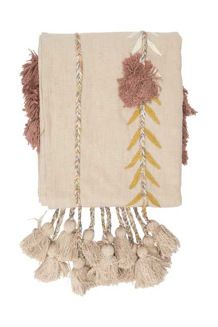 Embroidered Pink Cotton Throw with Decorative Applique, Pom Poms & Tassels - Nomad Home