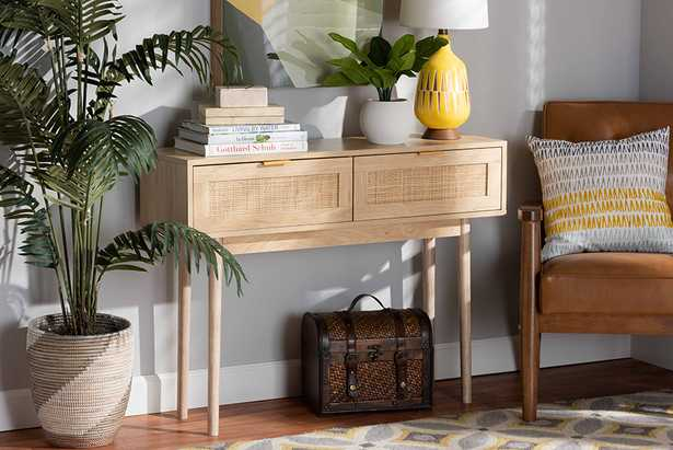 Baxton Studio Baird Mid-Century Modern Light Oak Brown Finished Wood and Rattan 2-Drawer Console Table - Lark Interiors