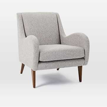 Set of 2: Sebastian Chair, Deco Weave, Feather Gray, Pecan, - West Elm