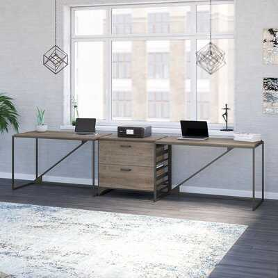 Bush Furniture Refinery 2 Person Industrial Desk Set With Lateral File Cabinet In Cottage White - Wayfair