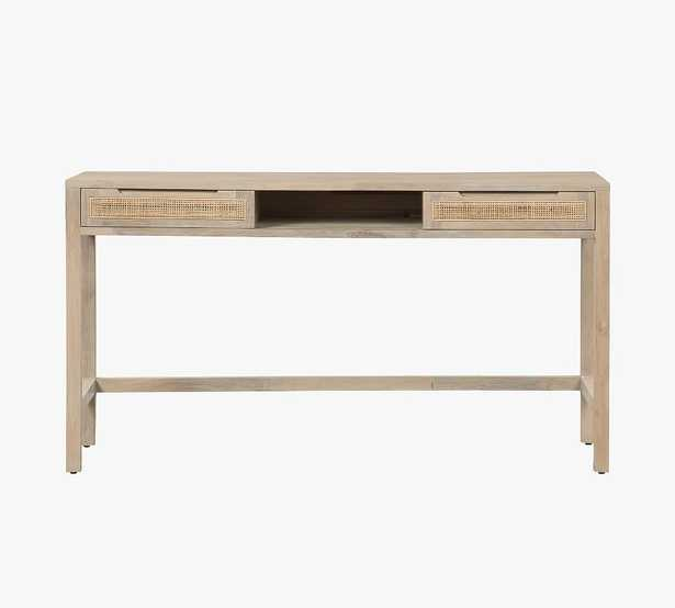 """Dolores 58"""" Cane Writing Desk with Drawers, Natural - Pottery Barn"""