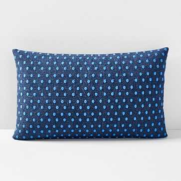 """Embroidered Dot Pillow Cover, 12""""x21"""", Midnight - West Elm"""