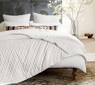 Bliss Cotton Linen Blend Quilt, King/Cal King, White - Pottery Barn
