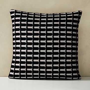 Cut Velvet Archways Pillow Cover, Black - West Elm