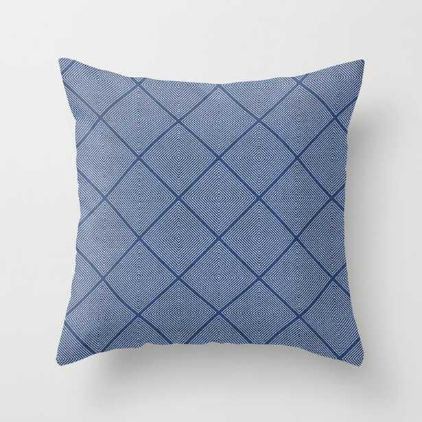 """Stitched Diamond Geo In Blue Couch Throw Pillow by Becky Bailey - Cover (20"""" x 20"""") with pillow insert - Outdoor Pillow - Society6"""