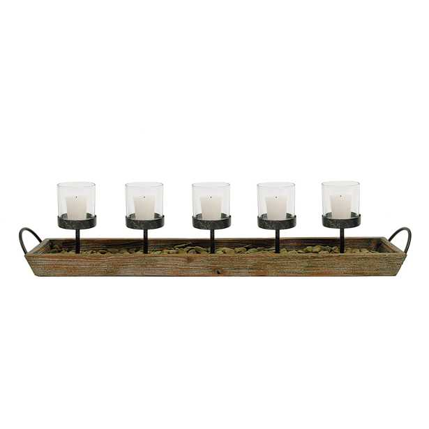 Metal Votive Candle Holders in Rectangle Wood Tray with Handles, Set of 5 - Nomad Home