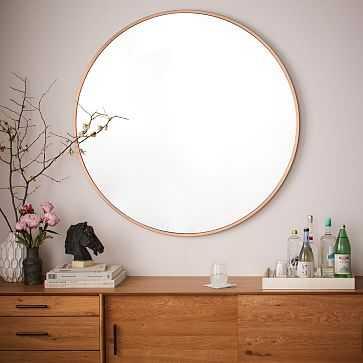 Metal Framed Oversized Round, Mirror, Rose Gold - West Elm