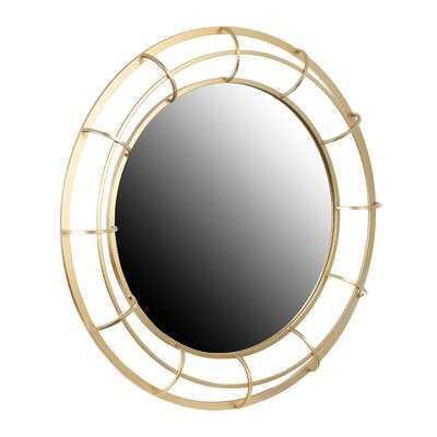 Round Metal Wall Mirror, Gold - Wayfair