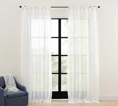 """Emery Pinstripe Rod Pocket Sheer Curtain, 50 x 96"""", Ivory - Pottery Barn"""