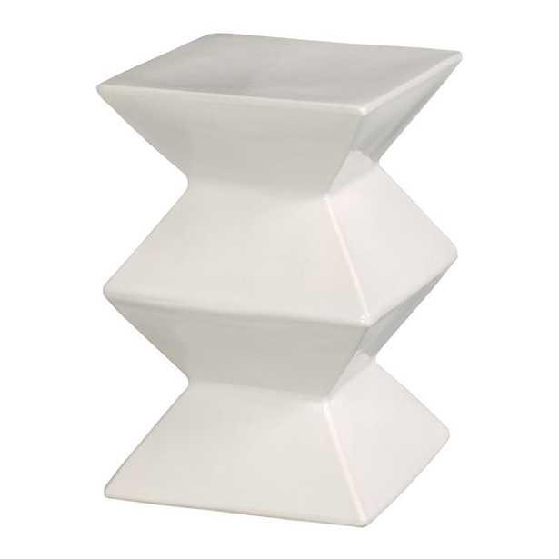 Emissary Zigzag White Ceramic Garden Stool - Home Depot