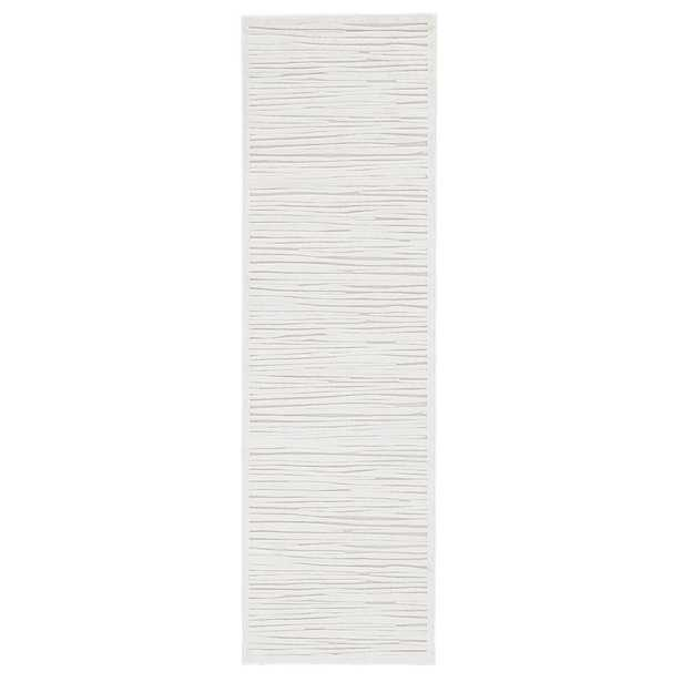 """Machine Made Blanc De Blanc 2'6"""" ft. x 8 ft. Abstract Runner Rug - Home Depot"""