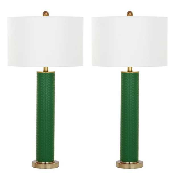 Safavieh Ollie 31.5 in. Dark Green Faux Woven Leather Table Lamp (Set of 2) - Home Depot