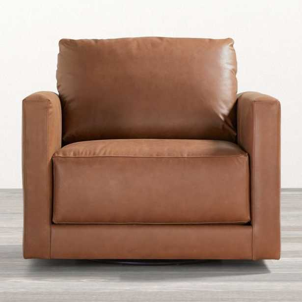 Gather Petite Leather Swivel Chair - Crate and Barrel