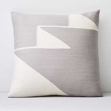 """Crewel Steps Pillow Cover, Frost Gray, 18""""x18"""" - West Elm"""