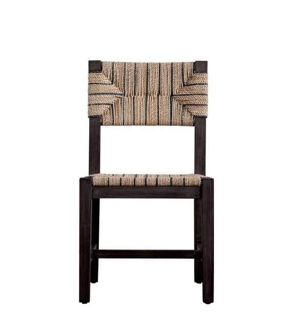 Mango Wood Chair with Brown & Black Woven Rope Seat & Back - Nomad Home
