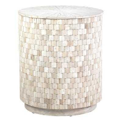 Trumann Solid Wood Drum End Table with Storage - Wayfair