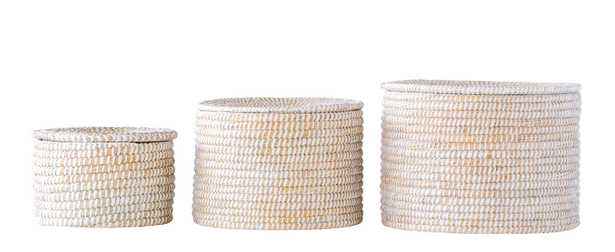 Whitewashed Woven Seagrass Baskets with Lids (Set of 3 Sizes) - Nomad Home