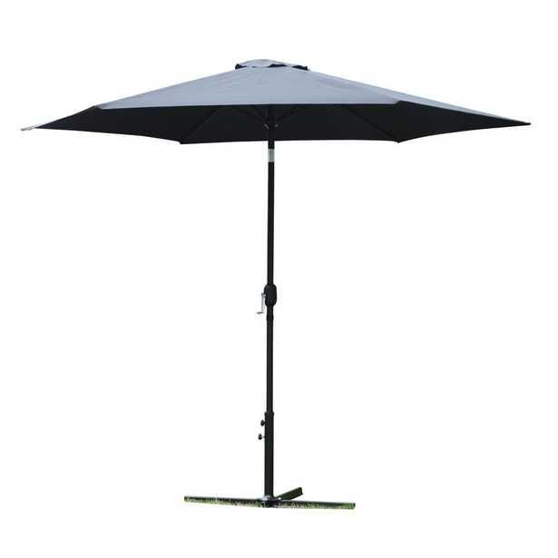 RUGGEAR USA 10 ft. Market Outdoor Garden Patio Beach Umbrella in Black with Push-Button Tilt and Crank Tilt - Home Depot