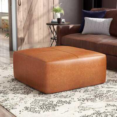 """Pereira 35"""" Genuine Leather Square Pouf Ottoman - Wayfair"""