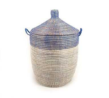 Tilda Two-Tone Woven Basket, Navy - Medium - Pottery Barn
