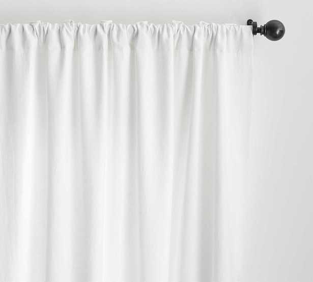 "Custom Classic Belgian Flax Linen Rod Pocket Blackout Curtain, White, 54"" W x 55"" L - Pottery Barn"