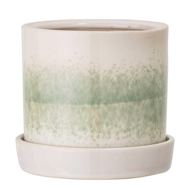 Round White & Green Stoneware Flower Pot with Saucer - Moss & Wilder