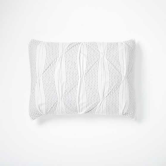 Pintuck Stripe Standard Sham, Stone White, Set Of 2 - West Elm