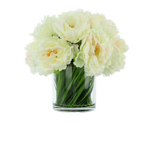 Peonies Floral Arrangement in Vase Flower Color: White/Pink - Perigold