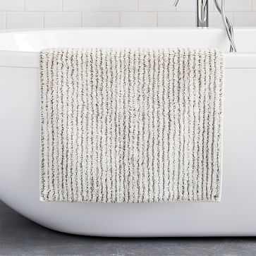 "Organic Tufted Stripe Bath Mat, 20""x34"", Gray Dusk - West Elm"