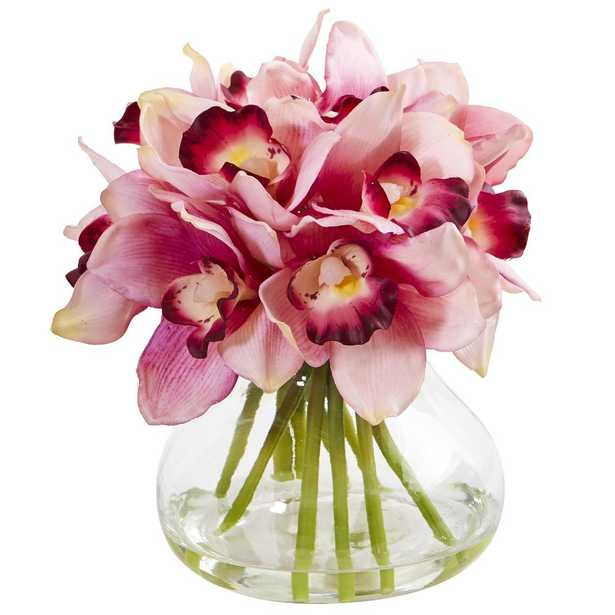 Nearly Natural Cymbidium Orchid Artificial Arrangement in Glass Vase - Home Depot