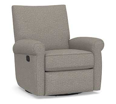 Grayson Roll Arm Upholstered Swivel Recliner, Polyester Wrapped Cushions, Performance Chateau Basketweave Light Gray - Pottery Barn