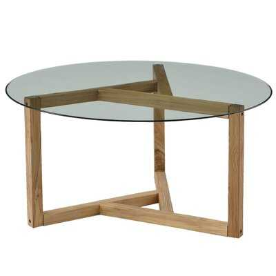 Round Glass Coffee Table Modern Cocktail Table Easy Assembly Sofa Table For Living Room With Tempered Glass Top & Sturdy Wood Base - Wayfair