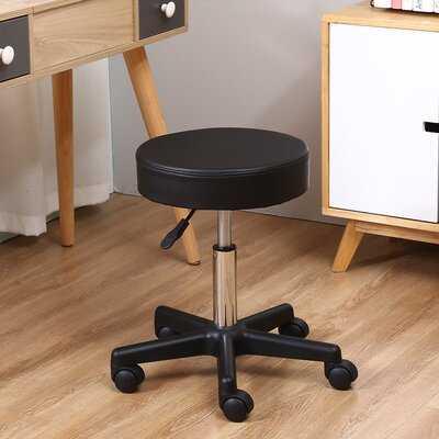 Round Rolling PU Leather Height Adjustable Lab Stool - Wayfair