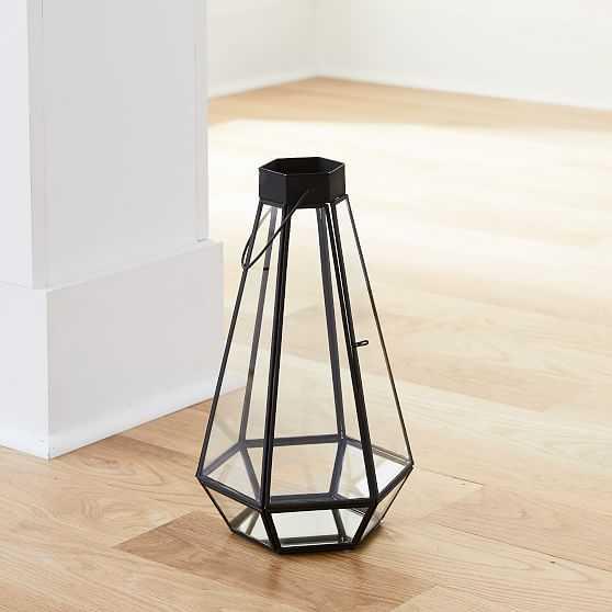 Faceted Lantern, Medium, Antique Bronze - West Elm