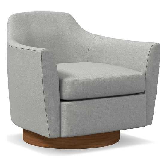 Haven Swivel Chair, Poly, Textured Crosshatch, Feather Gray, Dark Walnut - West Elm