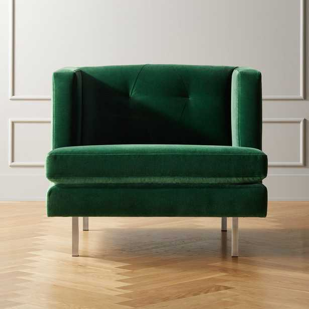 Avec Emerald Green Chair with Brushed Stainless Steel Legs - CB2