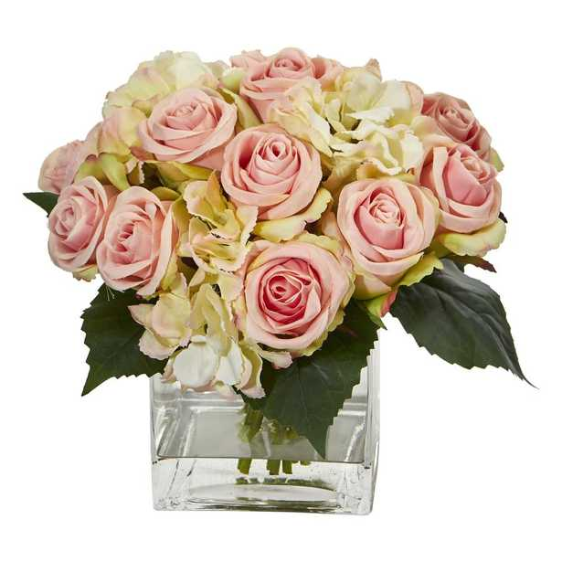 Nearly Natural Indoor Rose and Hydrangea Bouquet Artificial Arrangement in Vase - Home Depot