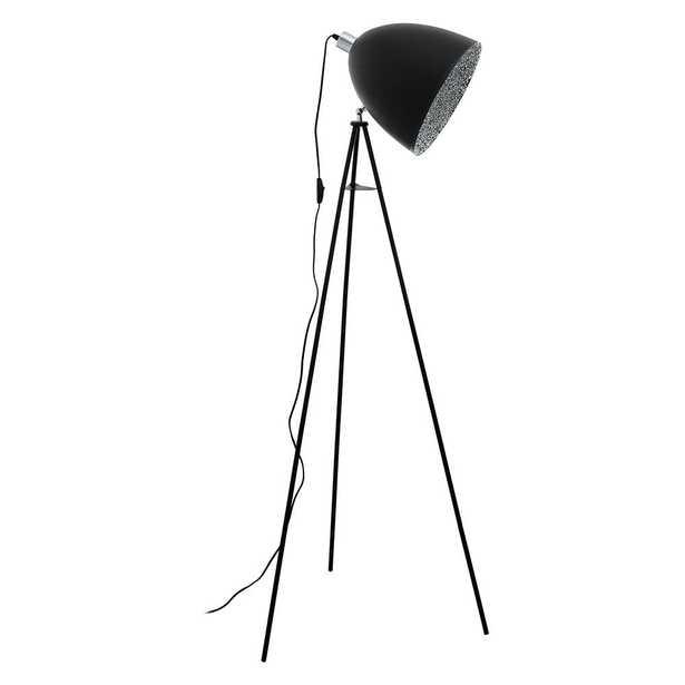 Eglo Mareperla 54.25 in. Black Floor Lamp with Black/Grey Metal Shade - Home Depot