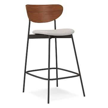 Modern Petal Wood/Upholstered Counter Stool,Performance Coastal Linen,White,Antique Bronze - West Elm