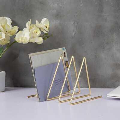 Triangular Brass-Tone Wire Metal Magazine Sorter - Wayfair