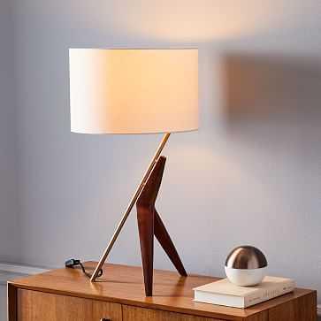 Caldas Table Lamp, White Linen, Walnut, Brass - West Elm
