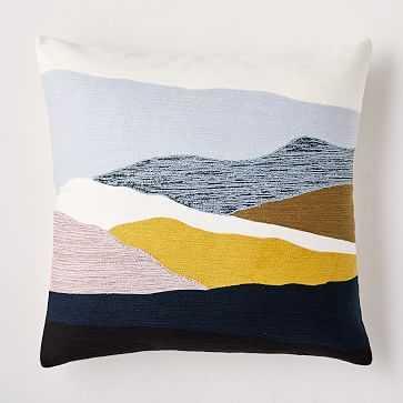 """Crewel Landscape Pillow Cover, 20""""x20"""", Silver Mist - West Elm"""