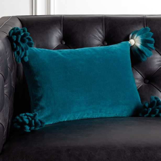 """18x12"""" Bia Tassel Spruce Pillow with Feather-Down Insert - CB2"""