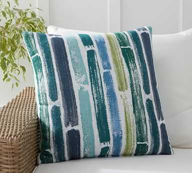"""Sunbrella(R) Painted Striped Indoor/Outdoor Pillow, 22"""" x 22"""", Multi - Pottery Barn"""